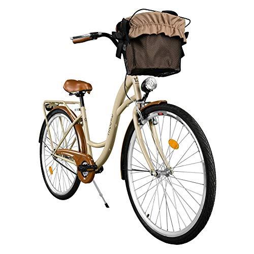 Milord. Vélo de Confort avec Panier, Byciclette, Vélo Femme, Vélo de Ville, 1 Vitesse, Marron, 28 Pouces
