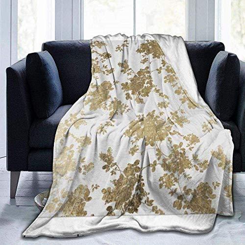 AEMAPE Simple Glam Vintage Weiß Faux Gold Chic Blumenmotiv Wintermode, warme und Bequeme Decke, 127X102CM