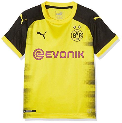PUMA Jungen BVB Kids Int'l Replica Shirt with Sponsor Logo T, Cyber Yellow Black, 176