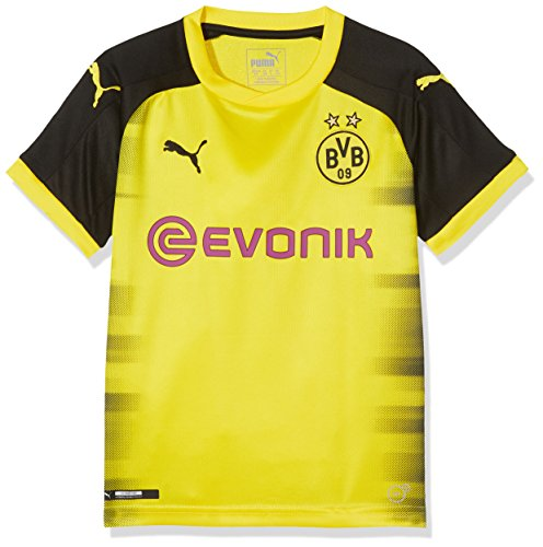 PUMA Jungen BVB Kids Int'l Replica Shirt with Sponsor Logo T, Cyber Yellow Black, 152
