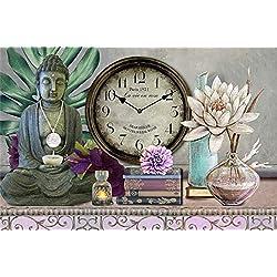 Windy Hill Collection 20 x 14 x 1.5 Oriental Asian Buddha Decorative Analog Canvas Wall Clock WA9-ta18-pad1257