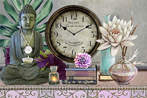 Windy Hill Collection 20' x 14' x 1.5' Oriental Asian Buddha Decorative Analog Canvas Wall Clock WA9-ta18-pad1257
