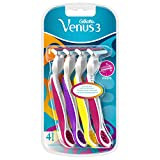 Gillette Venus3 maquinilla de afeitar desechable para mujer con 3 cuchillas y tira de humedad, paquete de 4 maquinillas de afeitar