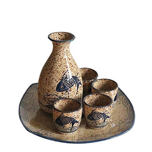 IOIOA Japanische Sake Set, Vintage-Flachmann Flaschen Sake Cup Non-Slip Bequeme Sake Töpfe Serving Sets umfassen 1 Pot 4 Cup Und 1X Tray mit einem Geschenkkasten