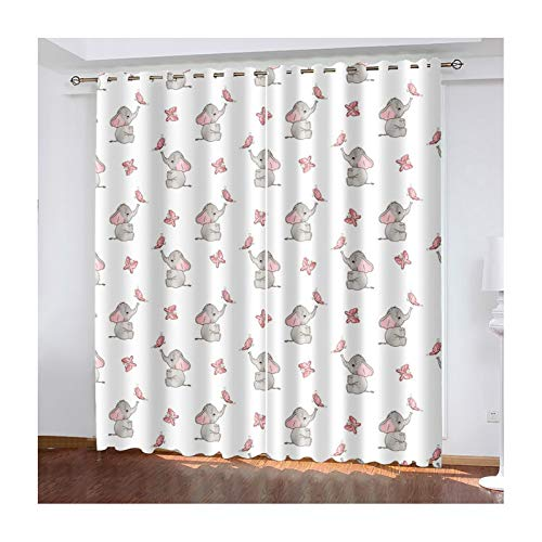 """Daesar Curtains for Livingroom 2 Panel, Eyelet Curtain Blackout Baby Elephant and Butterfly Window Treatments Grey Pink 100% Polyester Curtains 42"""" W x 46"""" L"""