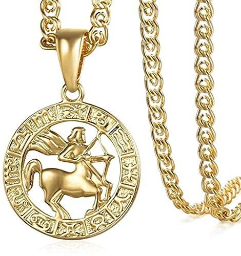 ZPPYMXGZ Co.,ltd Collar de Moda Collar 585 Oro Rosa Sagitario Signo del Zodiaco Collar Mujeres Hombres Collar Colgante Joyería Regalos Collar Colgante para Mujeres Hombres