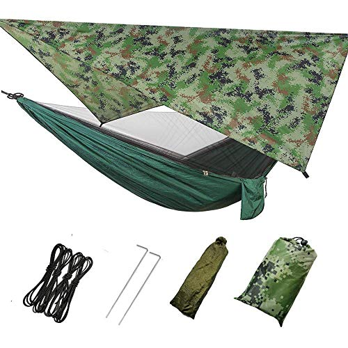 Camping Hammock with Mosquito Net & Rainfly Tent & Tree Straps, 200kg Load Capacity Double Tree Nylon Hammock Tent with Strong Bag for Camping Hiking Backyard Travel Outdoor Backpack (Camouflage Tent)
