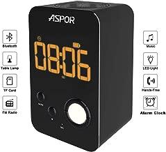 Alarm Clock Bluetooth Speaker, ASPOR Wireless Bluetooth Speaker with Night Light,FM Radio, Portable Wireless Stereo Sound Speaker with LCD Screen HD Enhanced Bass, Built-in Mic Support FM AUX TF