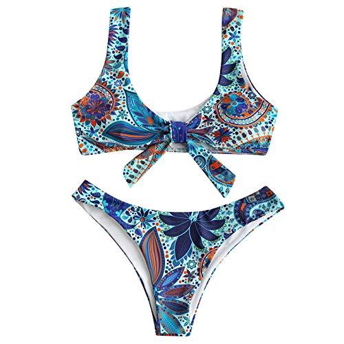 TICOOK 2021 Sommer Damenmode Exotisch Bedruckter Bikini Bowknot Buckle Design Bademode Geteilter Badeanzug