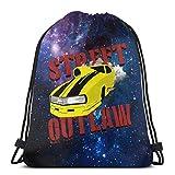 HFXY Street Outlaw Camero Promod Drawstring Bag Sport Gym Sack Shopping Travel Mochila de hombro plegable Patrón Hombres y mujeres