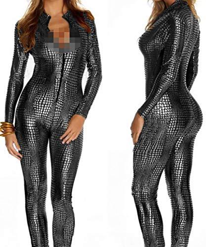 Latex Catsuit Colourful House Womens Kostüm Schlangenleder Print Reißverschluss Leder Engen Overall Catsuit Halloween,Gray,L