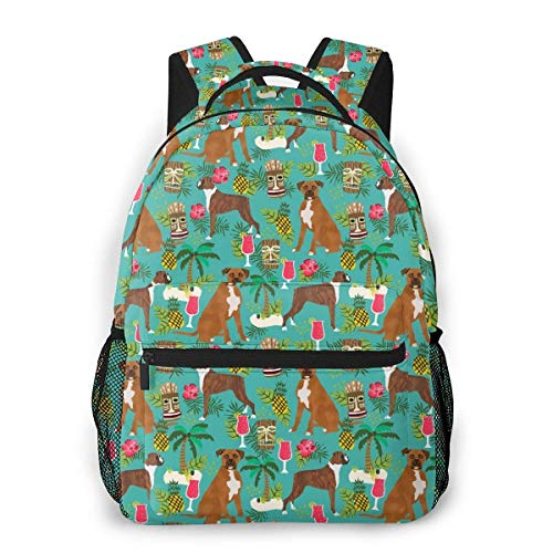Lawenp Boxer Tiki Tropical Boxer Dogs Travel Laptop Backpack Business Anti Theft Slim Durable Laptops Backpack Water Resistant College School Computer Bag for Women & Men Fits 15.6 Inch Notebook