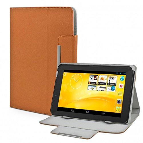 eFabrik Kunstleder Schutz Tasche für TrekStor SurfTab xiron 7.0 3G Hülle Schutzhülle Hülle Cover Schutztasche Stand-Funktion hochwertige Leder-Optik braun