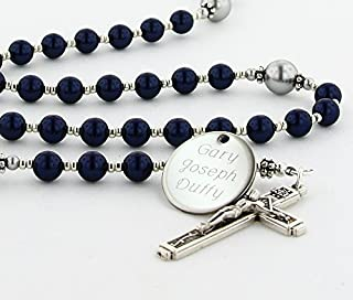 First Holy Communion Personalized Rosary Beads Dark Blue