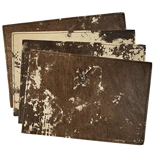 lederz Leather Placemats - Genuine Leather Table Mats for Kitchen or Dining Table, Set of 4 Placement. Dark Brown Color (17.7 x 11.8 Inches)