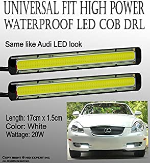 ICBEAMER Universal Daytime Running Light (DRL) High Power Bright LED COB 17CM x 1.5CM 20W Fog Light Strip Super White
