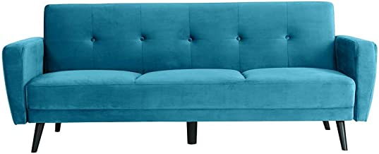 Linen Fabric Sofa Bed 3 Seater Set Ottoman Modular Lounge Chaise Futon Couch Teal