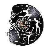 FDGFDG Yoga Studio decoración Reloj de Pared diseño Moderno Gimnasia Vinilo Record Time Clock decoración Amantes del Yoga Ideas
