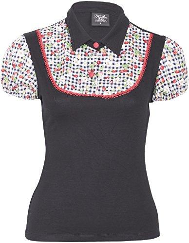 Küstenluder Damen Oberteil Callie Strawberry Pepita Shirt Schwarz XL