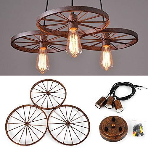 OUKANING Diseño Industrial Retro Lámpara Colgante Vintage Araña de Metal 3 Ruedas Lámpara Colgante Karaoke Cafe Decoración Luces E27