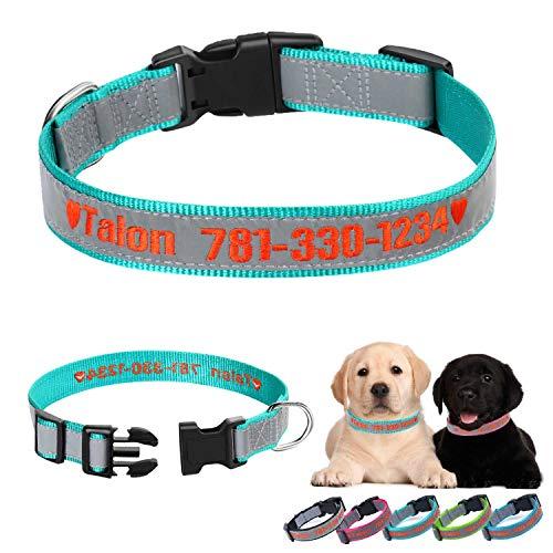 Collare per Cane, collari per Cani con ID Personalizzata Ricamati Collari per Cani di Sicurezza in Nylon Riflettente per di Taglia Grande Medio Piccolo (Blu Ottanio)