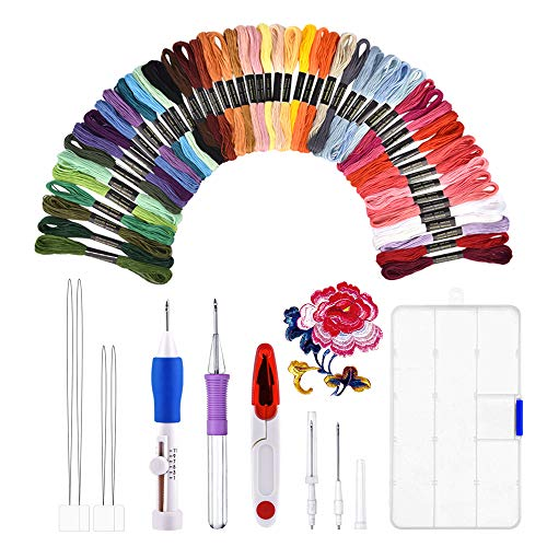 Kit de bordado, BASEIN combinación de juego de herramientas artesanales de aguja de punzonado de bordado que incluye 50 hilos de colores para costura de punto de cruz costura DIY.