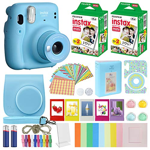 Fujifilm Instax Mini 11 Instant Camera Sky Blue Compatible Carrying Case + Fuji Instax Film Value Pack (40 Sheets) Accessories Bundle, Color Filters, Photo Album, Assorted Frames