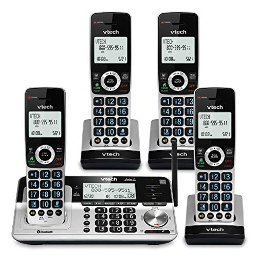 """VTech VS113-4 Extended Range 4 Handset Cordless Phone for Home with Call Blocking, Connect to Cell Bluetooth, 2"""" Backlit Screen, Big Buttons, and Answering System, Silver & Black"""