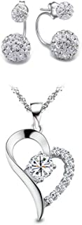 "Woolala""I Love You Forever"" Sterling Silver Heart-Shaped Pendant Necklace and Earrings Sets for Women - White"