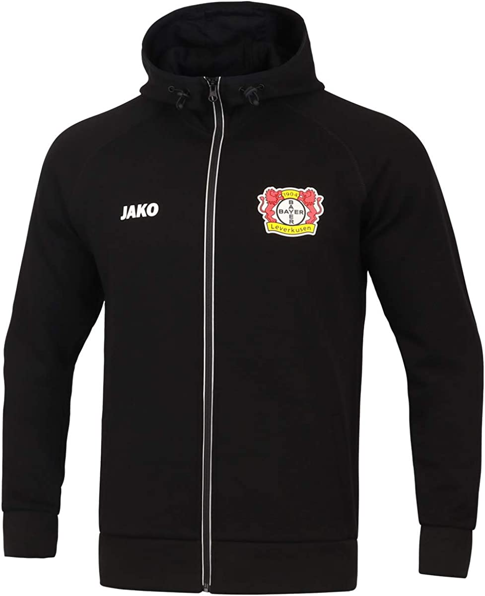 Jako Bayer 04 Leverkusen Kapuzenjacke Premium Polyesterjacke Fanjacke schwarz