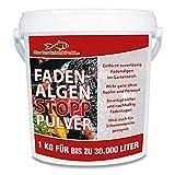 GartenteichDirekt Fadenalgen-Stopp Pulver (Algenmittel, Entferner, Fadenalgenvernichter und Fadenalgenentferner für den Gartenteich), Größe:1 kg