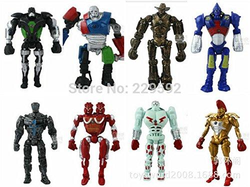 8Pcs / Lot Real Steel Zeus Twin Cities Robot Atom Midas Noisey Boy Toy Lighting Led 13cm Action Figure Movie PVC Adventure Time