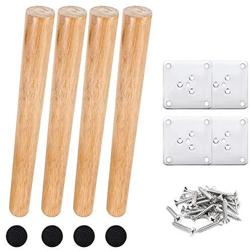 Drenky 4 piezas 30cm patas de madera para muebles patas de mesa de madera maciza cónica patas de sofá oblicuas patas de repuesto para muebles con placa de montaje tornillos y protector antideslizante
