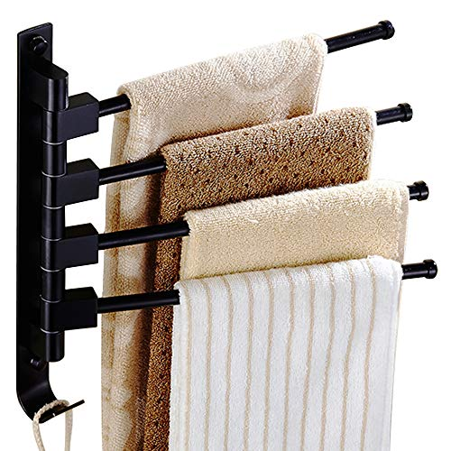 Long Leaf Towel Racks for Bathroom,Swing Out Towel Racks for Bathroom Holder Wall Mounted Towel Bars with Hooks(4-Arm Black)