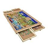 Tablero de Puzzle para 1000 Piezas, Mesa de Puzzle de Madera de 31 x 20 Pulgadas con 4 Cajones Deslizantes, Organizador de Tablero de Puzzle Portátil para Adultos Niños Regalo