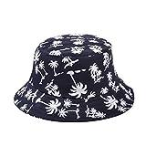TININNA Estivo Unisex Coconut Tree Stampe Cotone Bucket Hat Cappello da Pescatore Berretti Visiera di Sole Spiaggia Cappello di Sun(Profondo Blu)