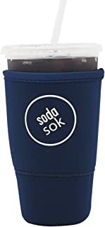SODA SOK Reusable Drink Sleeve - Insulated Neoprene Sleeve for Iced Fountain Drinks and Soda Cup Sleeve | Ideal for Large 32oz Drink Cups (Midnight Blue)