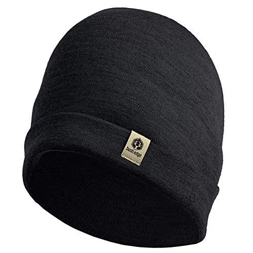 Bush Edge 100% Merino Wool Cuff Beanie Hat (Black)