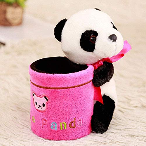 AGOOLZX Plush Stationery Girl Kid Girl Cute Thing Office Pen Holder Cartoon Panda Pen Holder Home Pen Holder Decoration Student Plush Pen Holder-Pink