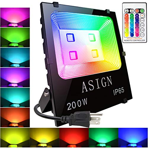 ASIGN 200W RGB LED Flood Lights, Indoor Outdoor Decoration Light Waterproof Color Changing LED Security Light with Remote Control, Dimmable Wall Washer Lights with US 3-Plug
