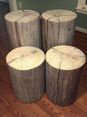 "Rustic Weathered Gray Poplar Stump Table ~ Bedside Table Sofa Table Bar Stool Stump Stool - 8-9"" diameter Custom Heights Available - 8""-17"" Tall"