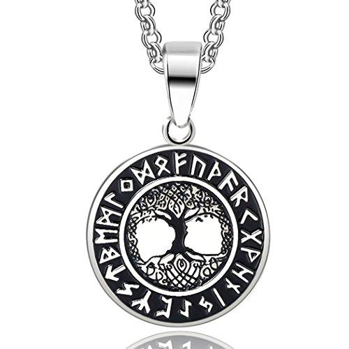 Weltenbaum im Runenkreis Anhänger mit Kette in Silber | Edelstahl Kettenanhänger Lebensbaum - Sehr schöner Wikinger-Schmuck