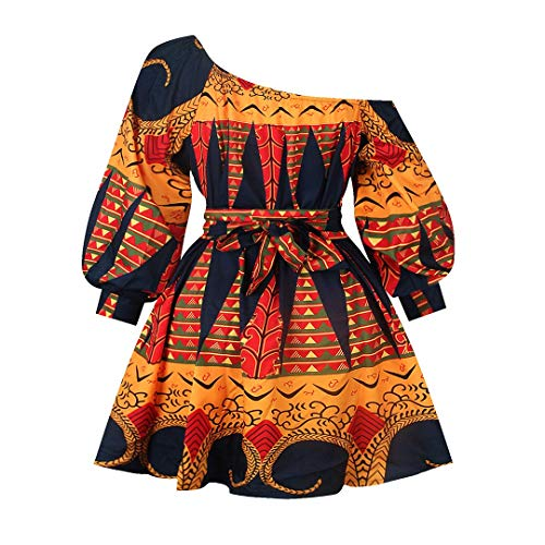 Haoohu Womens Boho African Style Floral Print Pleated Mini Swing Short Dress Top for Casual Club Party Orange