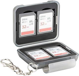 PROfezzion wodoodporny wytrzymały plastikowy cyfrowy nośnik do przechowywania 4 kart SD SDHC SDXC z karabińczykiem z krótk...