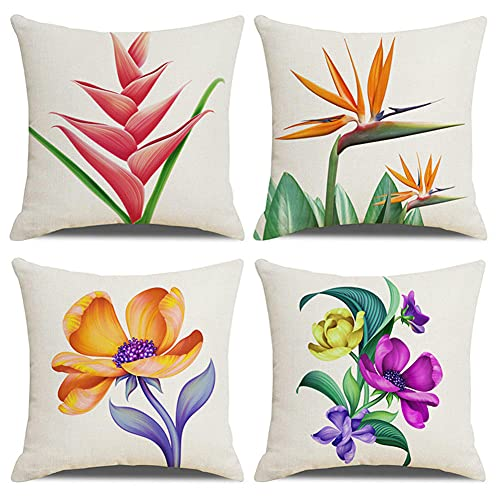 Funda de Cojín 16x16in/40x40cm Juego de 4 Funda de Cojín Funda de Almohada Impresión a doble cara Cuadrado Decorativas Funda de Cojín,para el sofá del dormitorio del hogar Decor (Flor púrpura) G597