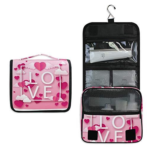 Amor Corazón Rosa Bolsa de Aseo Colgante Organizador Cosmético de Viaje Ducha Bolsa de Baño Neceser de Viaje para Maquillaje niñas Mujeres