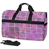 Steinfliese Large Travel Duffel Tote Bag Weekend Overnight Travel Bag Gym Bag Fitness Sports Bag with Shoes Compartment