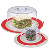 COLIBROX 2 Red PlateTopper (Mini & Tall) Universal Leftover Lid Microwave Cover Airtight