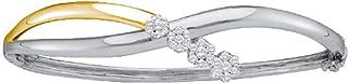 14kt Two-tone Gold Womens Round Diamond Flower Cluster Bangle Bracelet 1/2 Cttw Gift for Women