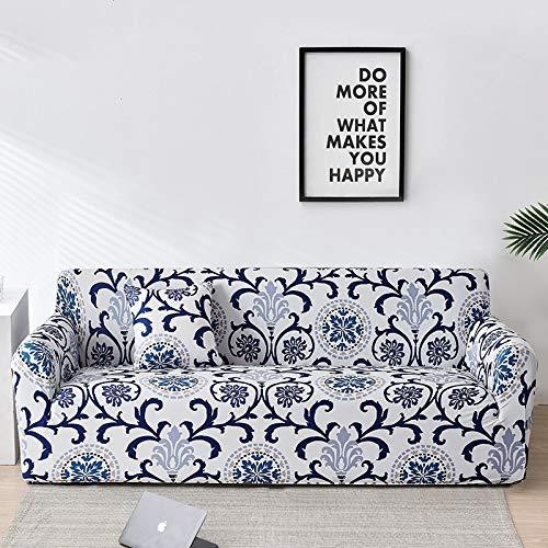 WXQY Sala de Estar patrón de verificación impresión Funda de sofá elástica Funda Protectora de sofá elástica Funda de sofá Chaise Longue a Prueba de Polvo A11 1 Plaza